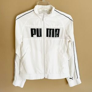 PUMA White Zip Up Track Jacket Spell Out